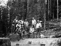 Crew on front end of donkey engine, Manary Logging Company, Toledo, ca 1925 (KINSEY 2414).jpg