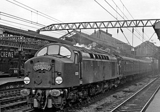 British Rail Class 40 - D263 with Merseyside Express at Crewe, in BR green with no warning panels, April 1960.