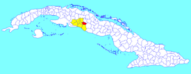 Cruces municipality (red) within  Cienfuegos Province (yellow) and Cuba