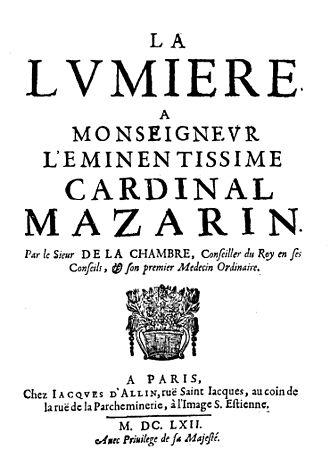 Marin Cureau de la Chambre - La lumiere, 1662