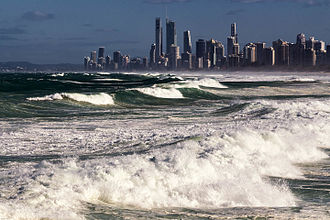 Cyclone Winston - Large swells in Gold Coast, Queensland, injured multiple people and prompted the closure of beaches