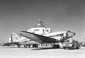1940 Air Terminal Museum - Eastern Air Lines DC-3 at  the then-new Houston Municipal Airport Terminal, April  1941