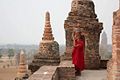 DSC558 Burma Bagan Bagan Tayok Pyi Paya Young Monk at Sunset (4588659240).jpg
