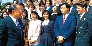 Daisaku Ikeda - Ikeda greets international students at Soka University, March 1990