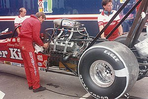 Kenny Bernstein - Crew chief Dale Armstrong working on his car