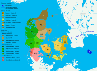 Danish dialects - Map of main Danish dialect areas