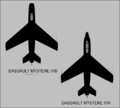 Dassault Mystere IVB and IVN top-view silhouettes.png