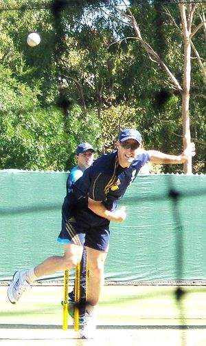 David Hussey - Hussey bowling off spin in the Adelaide Oval nets.