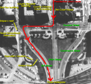 The route taken by the motorcade within Dealey Plaza (north is toward the almost direct-left)