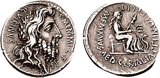Ceres (mythology) - Denarius picturing Quirinus on the obverse, and Ceres enthroned on the reverse, a commemoration by a moneyer in 56 BC of a Cerialia, perhaps her first ludi, presented by an earlier Gaius Memmius as aedile
