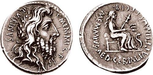 Denarius C. Memmius C. F. Romulus