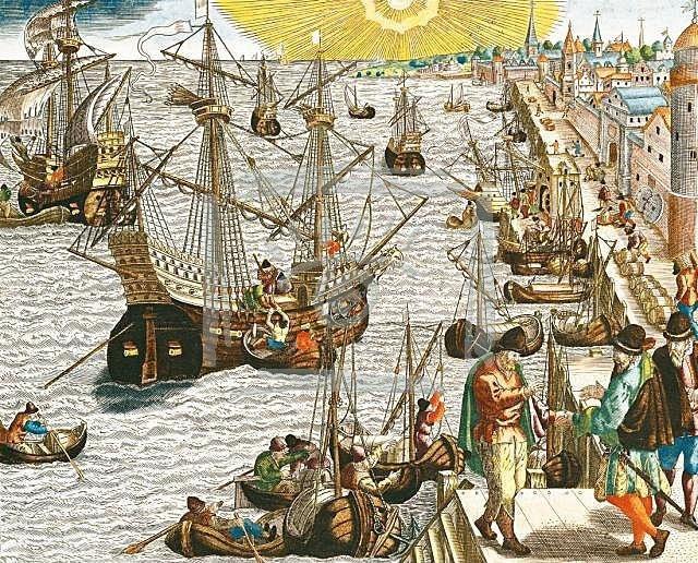 Departure of fleet from Lisbon harbor