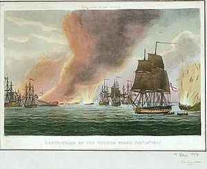 Dardanelles Operation (1807) - Destruction of the Turkish Fleet Feby 19th 1807, coloured engraving after Thomas Whitcombe