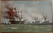 Det østrigske flagskib Schwartzenberg brænder