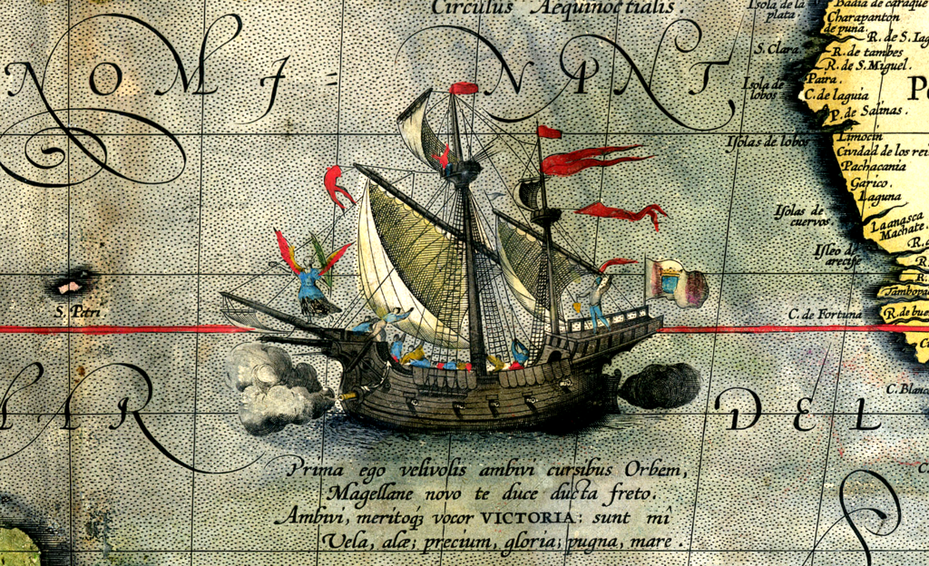 Detail from a map of Ortelius - Magellan's ship Victoria