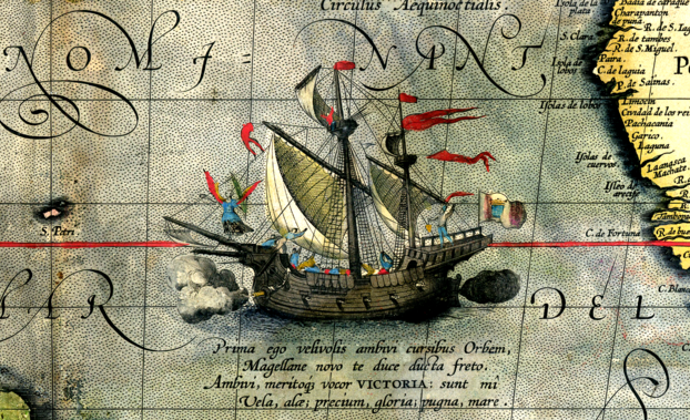 Archivo:Detail from a map of Ortelius - Magellan's ship Victoria.png