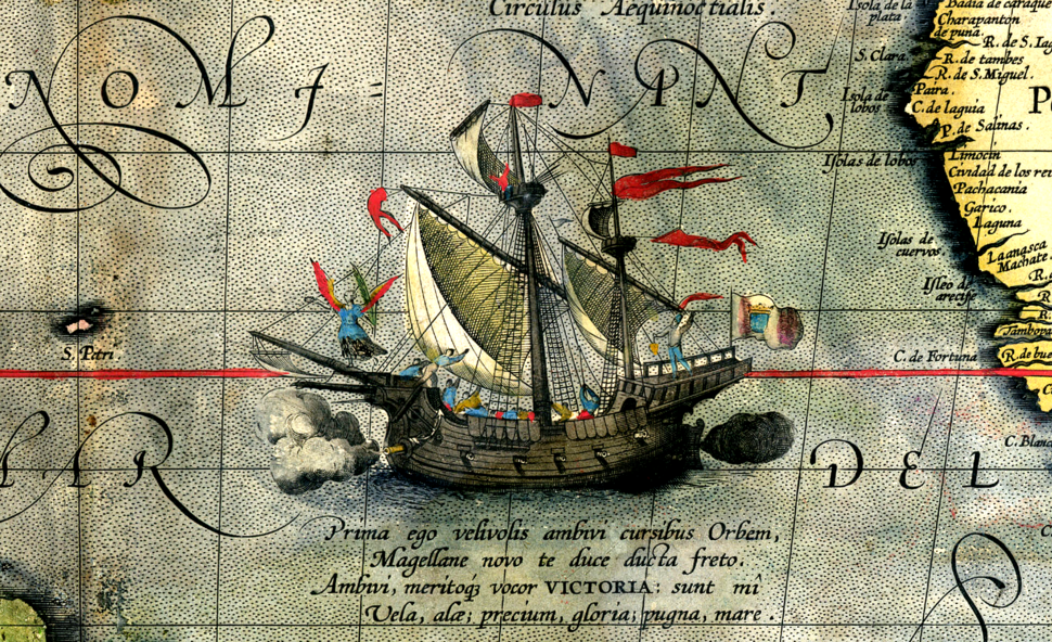 Detail from a map of Ortelius - Magellan%27s ship Victoria