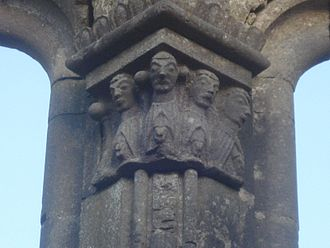 Kilfenora - Detail of a pillar on the east window in the chancel of Kilfenora Cathedral