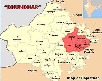 Dhundhar - Dhundhar region includes areas near Jaipur.