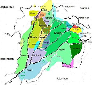 Pothwari - Image: Dialects Of Punjabi