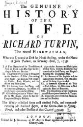 Page de titre d'un ouvrage, s'intitulant The Genuine History of the Life of Dick Turpin (Histoire authentique de la vie de Dick Turpin).
