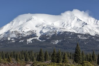 Distant views of looming Mount Shasta, located at the southern end of the Cascade Range in Siskiyou County, California LCCN2013631186.tif