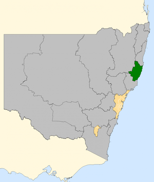 Lyne by-election, 2008 - Lyne (green) within New South Wales