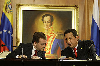 Dmitry Medvedev and Hugo Chavez%2C 2008