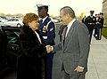 Donald Rumsfeld welcomes Latvian President Vaira Vike-Freiberga, 2006.jpg
