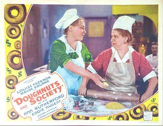 Maude Eburne - Lobby card with Louise Fazenda and Maude Eburne (right) in Doughnuts and Society (1936)