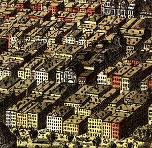 Early skyscrapers - Currier and Ives' 1874 map of Chicago shows low-rise buildings constructed after the fire of 1871