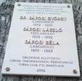 Dr. Sárosi György, Sárosi László (úszó) és Sárosi Béla emléktáblája, Budapest, XI., Budafoki út 10b..png