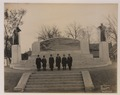 Dr Bell and committee in front of the Bell memorial, with hats on (HS85-10-33595) original.tif