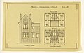 Drawing, Rendering of Elevation and Floor Plan of a Two Family Mass-operation House (Type No. 2), ca. 1921 (CH 18385007).jpg