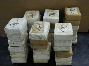 Illegal drug trade in Colombia - Stacks of cocaine.