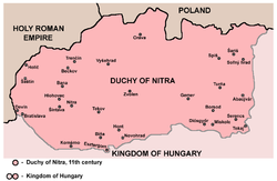 Duchy of Nitra within Hungary in 11th century