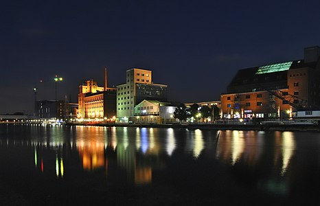 Inner Harbor of Duisburg at night