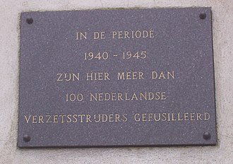 Dutch resistance - Plaque honouring the Dutch resistance members executed by the Germans at Sachsenhausen concentration camp
