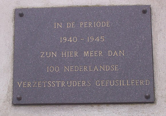 Plaque honouring the Dutch resistance members executed by the Germans at Sachsenhausen concentration camp Dutch plaque in Sachsenhausen concentration camp.jpg