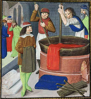 Natural dye - Dyeing wool cloth, 1482, from British Library Royal MS 15.E.iii, f. 269.