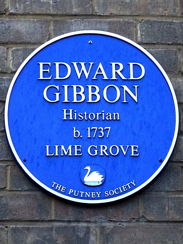 Edward Gibbon blue plaque - Edward Gibbon historian b.1737 Lime Grove