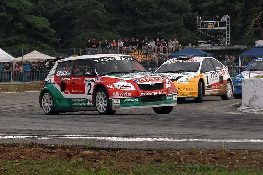 Michael Jernberg, followed by Sverre Isachsen at Round 7 of the 2010 FIA European Rallycross Championship at Duivelsbergcircuit, Belgium