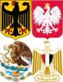 Eagles in heraldry - collage of arms of Germany Poland Mexico and Egypt.png