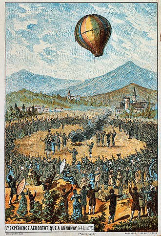 Montgolfier brothers - First public demonstration in Annonay, 4 June 1783