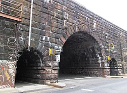 East 105th Street tunnels through Metro-North viaduct from east.jpg