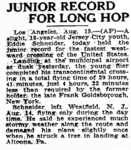 Eddie August Schneider as the subject of an article written by the Associated Press and published in the Newark Advocate of Newark, Ohio on August 19, 1930.png