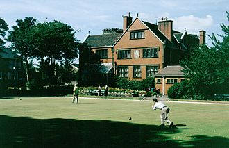 Lawn game - A crown bowls green at Edgworth, Lancashire, England