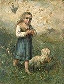Edward Mitchell Bannister - Child with Birds and Dog - 1983.95.124 - Smithsonian American Art Museum.jpg
