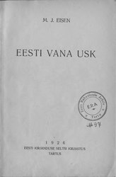 Matthias Johann Eisen: Eesti vana usk
