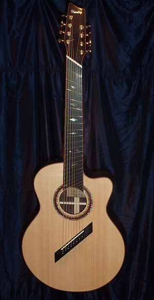 Eight-string guitar - Eight-string multi-scale acoustic guitar by luthier Patrick Hawley of Ottawa, Ontario; see Orpharion